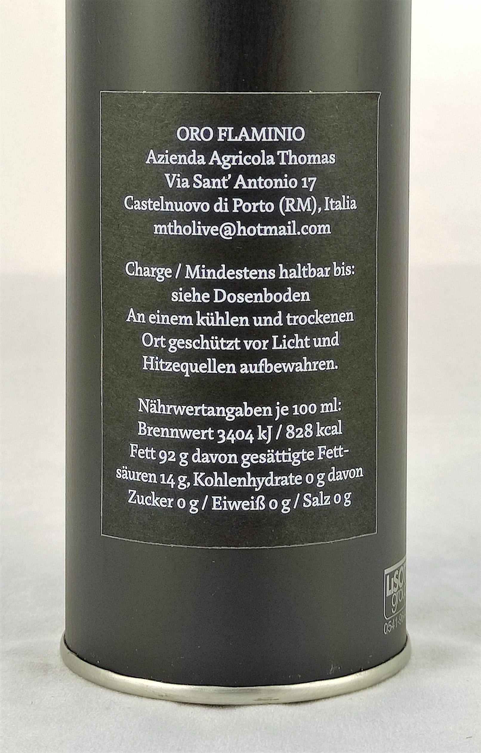 Oro Flaminio Olivenöl - natives Olivenöl Extra, 0,5 l